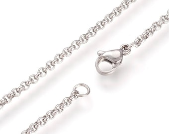 Silver 304 Stainless Steel Cable Chain Necklace with Lobster Claw Clasp - 18.1''(46cm) long