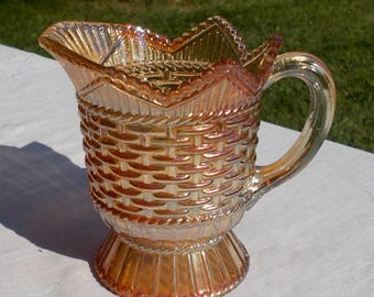 40s Pale Marigold  Westmoreland Carnival Glass CREAMER Pitcher Basket Weave & Cable Pattern