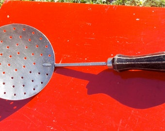 Vintage  Stainless Steel Sieve Cooking Strainer Wood handle marked BOYE Stainless Steel Country Kitchen Cottage Chic 1950s