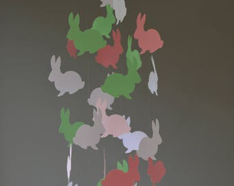 Bunny / rabbit nursery mobile or baby mobile made from dark mint, dark pink, soft pink and white card stock -- Handmade, Peter rabbit style