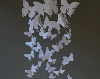 Butterfly nursery mobile / baby mobile made with white butterflies --- Butterfly babyshower, nursery art, nursery decor