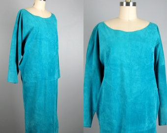 Vintage 1980s Teal Suede Dress 80s Suede Caftan Dress by Pia Rucci Size M