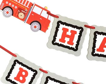 Fire Truck Birthday Banner Red Gray Black Firetruck Banner Firetruck Party Custom Name, Fire Engine Birthday Party Decorations