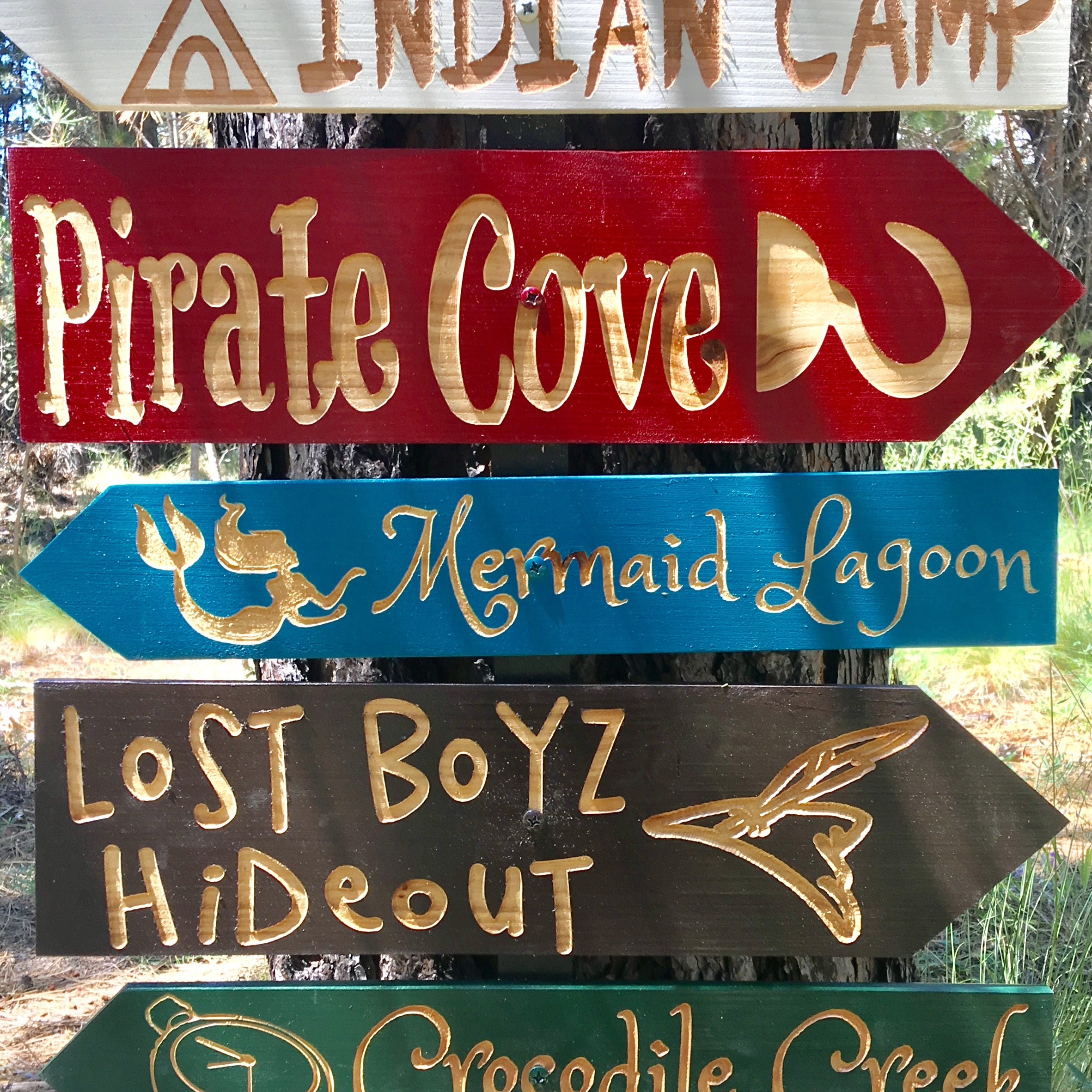 Peter Pan Fantasy Story Signs - Captain Hook Lost Boys Pirate Theme Kids Room Nursery Tinkerbell ...