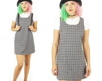 ON SALE Plaid 90s Jumper Dress, Schoolgirl Plaid Mini Dress, 90s Grunge Uniform, Layering Dress, Women's Size 11 Medium