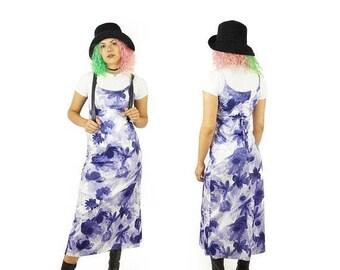 ON SALE Purple 90s Long Purple Tank Dress, 90s Large Floral Print Maxi Dress, Layering Dress, Women's Size Small