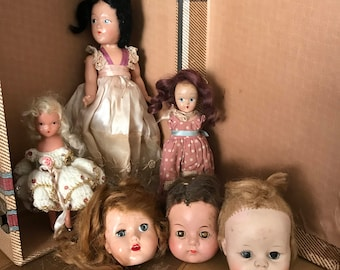 Vintage doll collection lot misc doll parts for decor or art creepy dolls galore