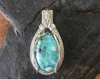 On Sale Turquoise Pendant - Wore Wrapped Pendant - Turquoise Jewelry - Turquoise and Silver - Wire Wrap Jewelry - Turquoise Wire Wrap
