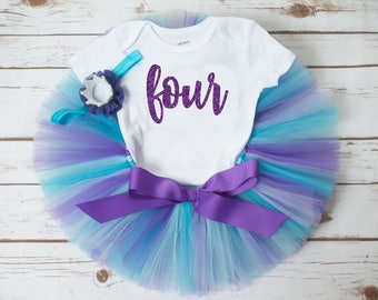 Mermaid birthday outfit Audrey purple and turquoise birthday outfit girl third birthday second birthday fourth birthday fifth sixth first