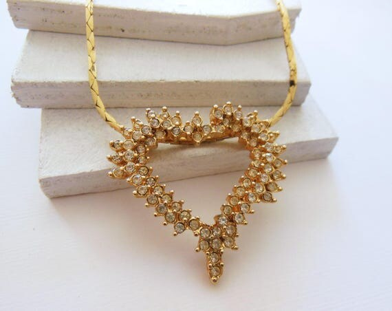 Vintage Large Clear Rhinestone Yellow Gold Tone Heart Slide Pendant Necklace AA4