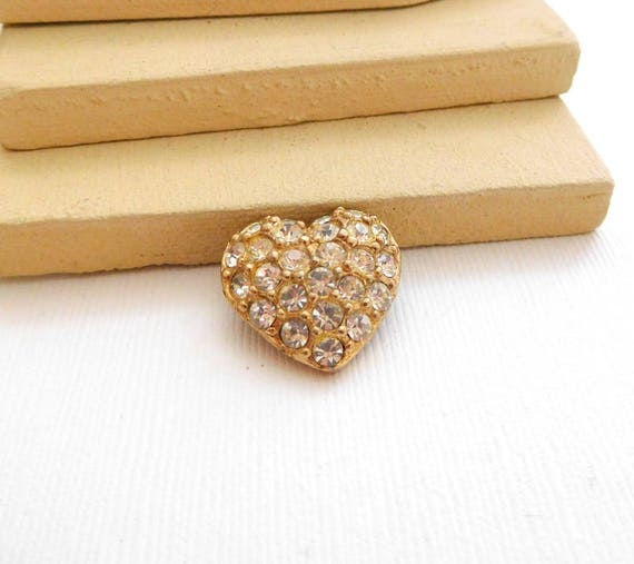 Vintage Small Sparkling Clear Rhinestone Gold Heart Lapel Brooch Pin XX39