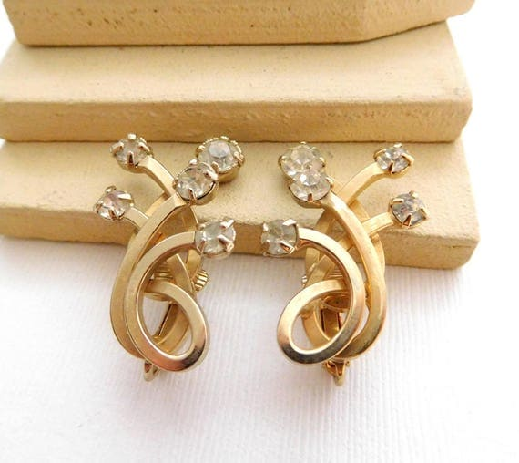 Vintage Signed Emmons Gold Tone Rhinestone Ear Climber Clip On Earrings C15