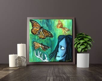 ORIGINAL ART: BUTTERFLY Small skull painting, 6x6 inches acrylic on canvas  // butterfly, monarch, moth, specimens // green, gift