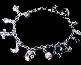 "Sterling Silver 14 Charm Bracelet Signed 925 Heart, Lock, Key Cross 8"" Vintage"
