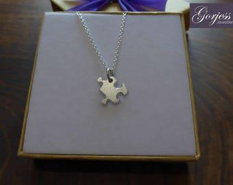 Little Silver Puzzle Piece - Silver Puzzle Pendant - Puzzle Piece Charm - Satin