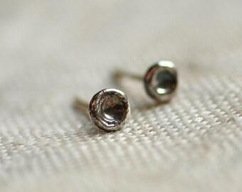 Sterling silver organic stud earrings