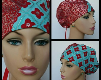Bouffant Cap-Modified/Medical Cap/Surgical Scrub Cap - Hollyday Flourish - Two Tones - 100 % Cotton