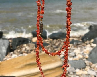 """36"""" long necklace of vintage coral branches with engraved antique clasp"""