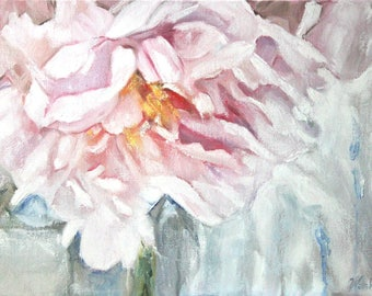 Original Oil Painting: Modern impressionist floral - pink peony