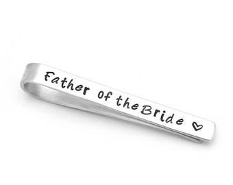 Father of the Bride Tie Clip - Engraved Father of the Bride Tie Bar - Father of Bride Gift -  Bride to Father Gift  - Gift for Dad