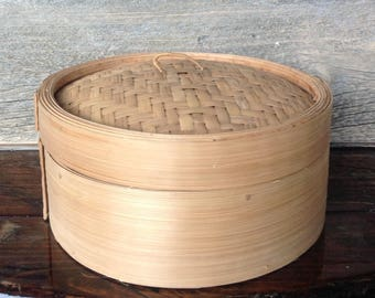 Vintage round bamboo steamer