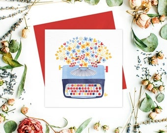 Typewriter Illustration Greeting card or greeting cards set - Floral Stationery, Thank You Cards, Get Well Cards, Friend cards, Floral Cards