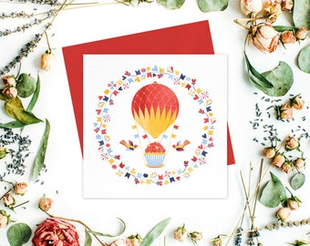 Hot Air Balloon Greeting card or greeting cards set - Kids Stationery, Baby Shower cards, Kids Birthday, Cupcake, Muffin, Friend Cards