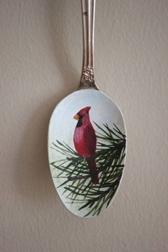 Northern Cardinal in Pine bough, Unique, Collectible Painted Spoon, bird art, Small Gift, garden art, songbirds, ornament, red, green