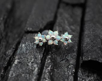 Triple White Opal flower push in 16g bio flexible for conch / cartilage / helix earring