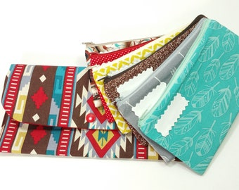 Cash Budget System, Cash Envelope Wallet -Red Teal Aztec- (It can be used with the Dave Ramsey system)