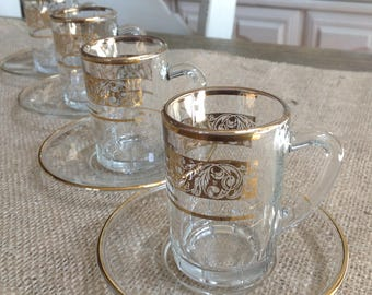 Set of 4 Clear Glass Espresso cups and Saucers FREE SHIPPING with Gold Motif and Trim Marked Italy in Gold Made in France