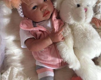From the Biracial Shyann Kit  Reborn Baby Doll 19 inch Baby Girl Maggie Complete Baby Doll