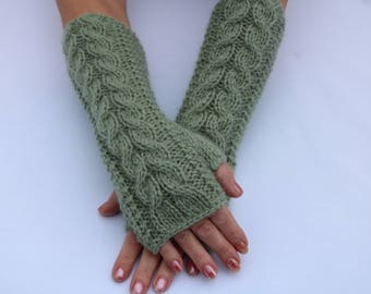 Clothing Gift. Fingerless Gloves Green.Alpaca Knit Cable Arm Warmers.Long.Dusty Green.Soft. Women.