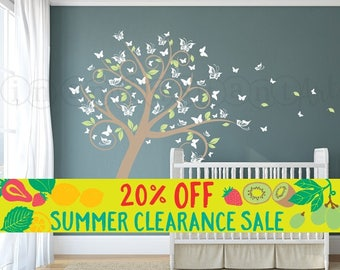 Summer SALE Nursery Blossom Butterfly Tree Wall Decal, Tree with Butterflies and Leaves for a Baby Nursery, Kids or Childrens Room 031