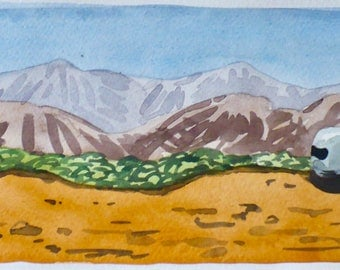 Out There--A Watercolor Painting of an Airstream Trailer in the American West, Desert Scene