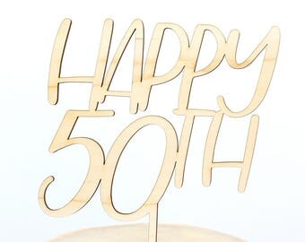 50th Birthday Cake Topper, 50th Anniversary Cake Topper, Happy 50th, Personalized Gold Silver, Custom Cake Topper, Birthday Cake Topper