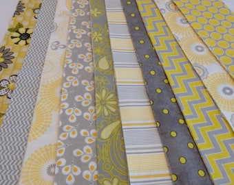 Jelly Roll yellow gray white fabric, 20 fabric strips, chevron, polka dot, strips, flowers,  Quilters Time Saver, quilt kit