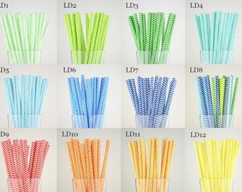 Chevron Paper Straws/Party Supplies/Wedding/Party Decor/Cake Pop Sticks/Mason Jar Straws-Choose Your Own Color