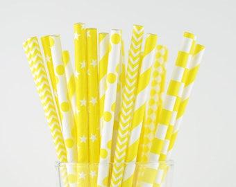 Yellow Paper Straw Mix/Striped/Chevron/Star/Diamond/Polka Dot/Circle Straws/Party Decor/Cake Pop Sticks/Party Supplies/Wedding/Baby Shower