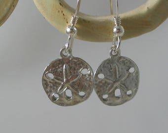 petite sand dollar sterling silver earrings, beach earrings, sand dollar earrings, sea inspired earrings, bridemaids beach wedding earrings