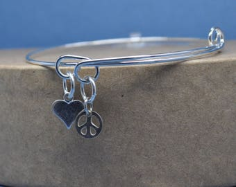 love and peace sterling silver adjustable bracelet,expandable bracelet, peace and love bracelet, peace sign bangle bracelet,heart bracelet