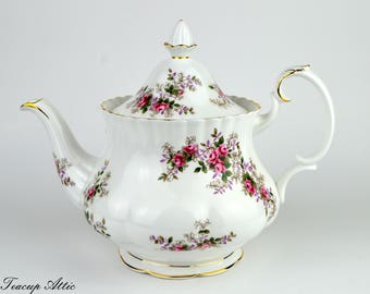 Royal Albert Lavender Rose Full Sized Teapot with Pattern on Spout, Replacement China, Wedding Gift, ca. 1960