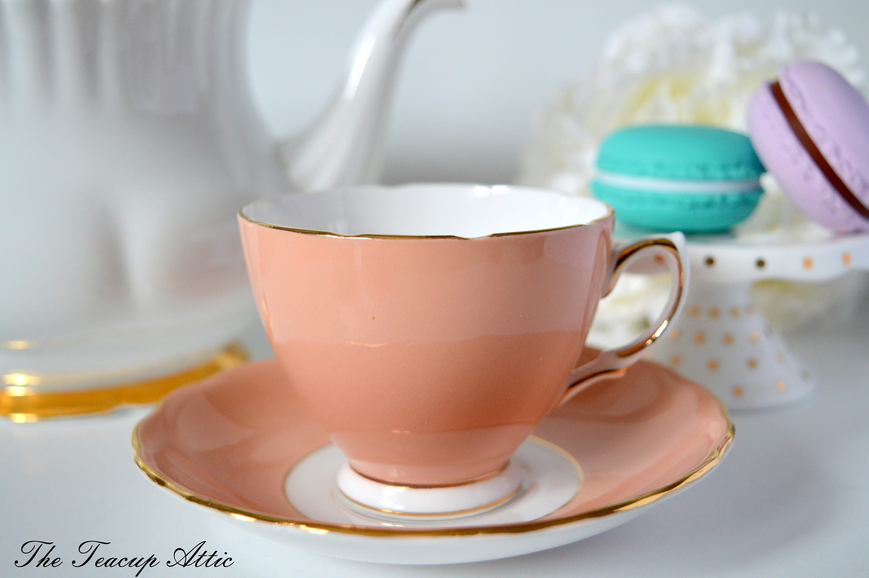 Colclough Beige Teacup and Saucer Set, English Bone China Tea Cup Set,  ca. 1962