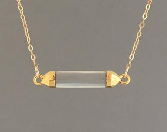 Gold Trim Clear Quartz Necklace