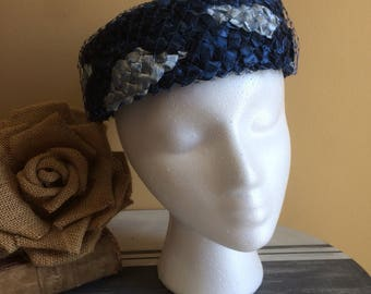 1960s Pillbox Hat, Navy Blue and Light Blue Pillbox Hat, Netting Over Raffia, Formal Event Hat, Cocktail Pillbox Hat