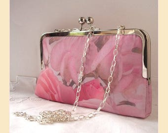 Clutch bag, shoulder bag, pink floral clutch, bridesmaids purse, handmade bridal purse, shoulder bag, sweet peas