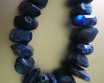 BLUE Labradorite Irregular Faceted Unique Great Blue Flash, Rainbow of Colors Center Drilled