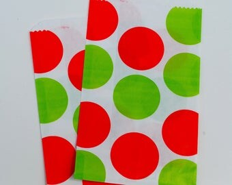 Christmas Favor Sacks - Polka Dot Favor Sacks - Christmas Favor Bags - Christmas Goody Bags - Christmas Treat Bags