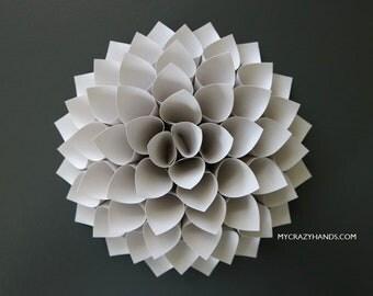 nursery wall decor || 7'' dahlia wall decor || paper dahlia || wedding flower | origami gifts || baby photography backdrop -misty gray