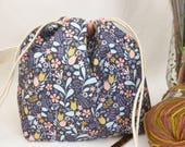Small Super Draw Project Bag - Blackbird Floral